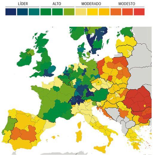 Mapa Nivel de Innovación UE